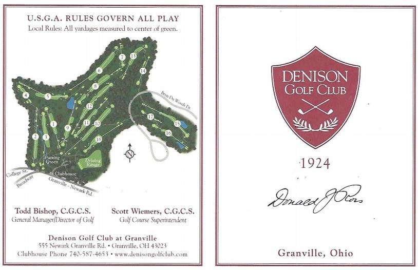 Denison Golf Club Scorecard - Outside Cover