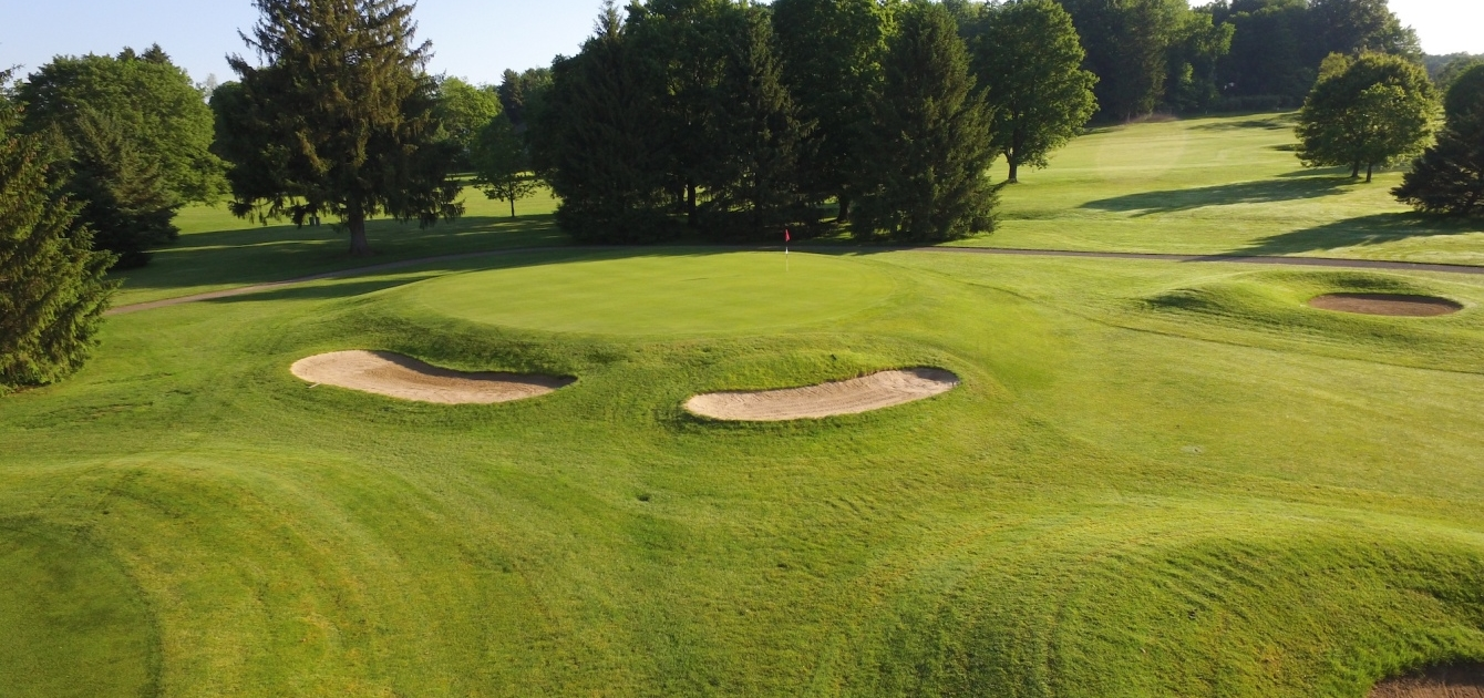Bunkers and Greens on the golf course at Denison Golf Club